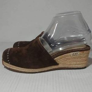 Ugg Palma Espadrille Suede Wedge Mules Sz 7
